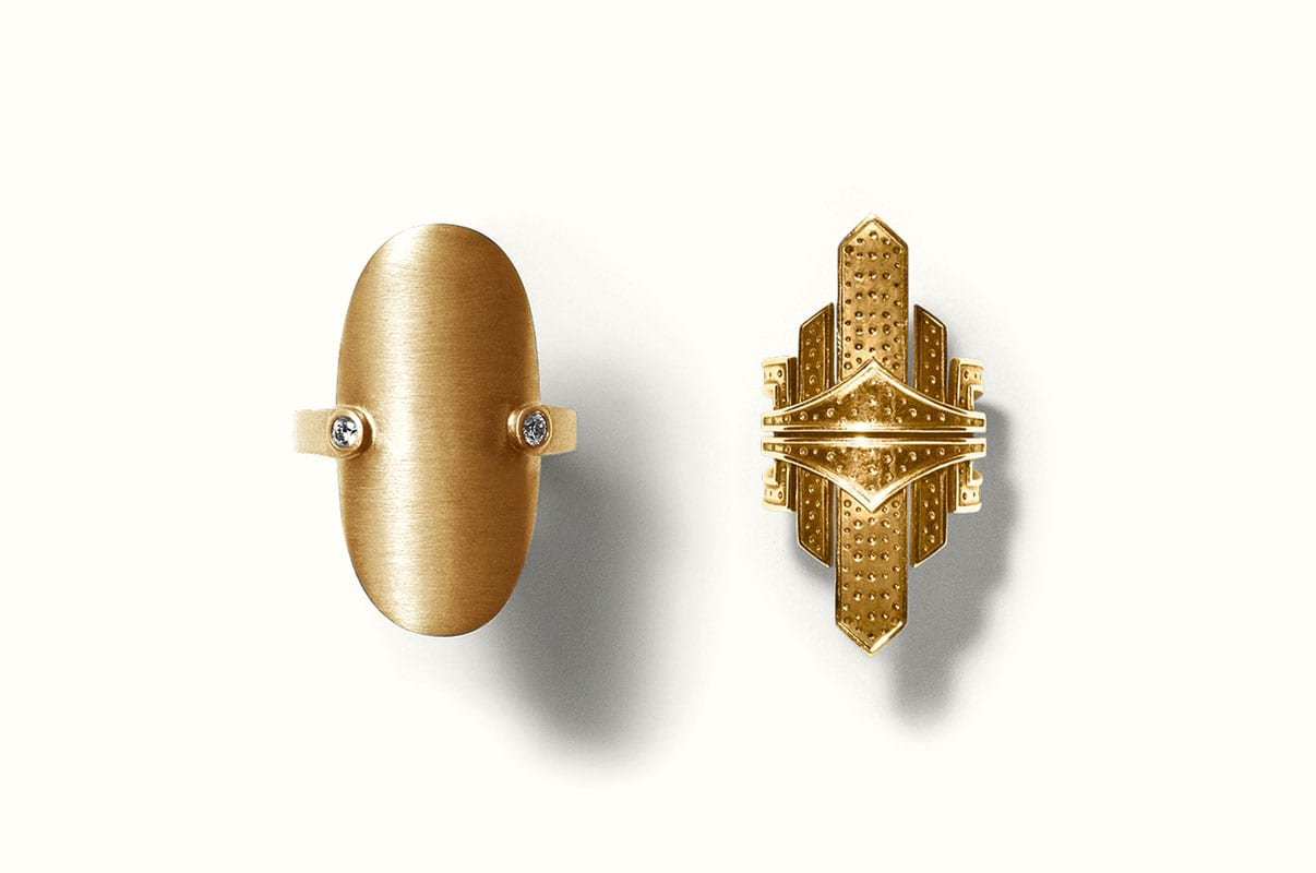 Two LINE&JO rings in matte solid gold