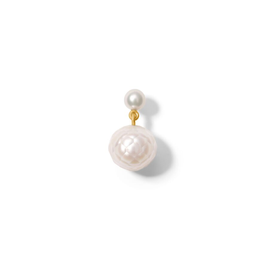 MISS ELISE 18 ct gold round white facetted pearl